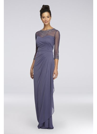 3/4 Sleeve Beaded A-Line Petite Dress with Ruching - Aglow with tonal beading at the illusion neckline
