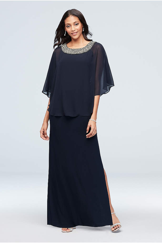 Jersey A-Line Capelet Dress with Beaded Neck - Metallic beads and crystals shine atop the neckline