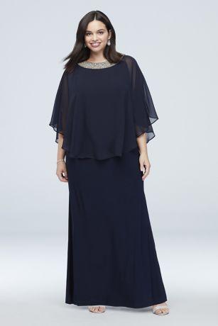 Long Sheath Capelet Dress - RM Richards