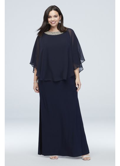 Jersey Plus Size Capelet Dress with Beaded Neck - Metallic beads and crystals shine atop the neckline