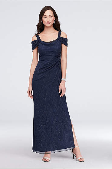 Cold-Shoulder Ruched Mesh Petite Sheath Gown