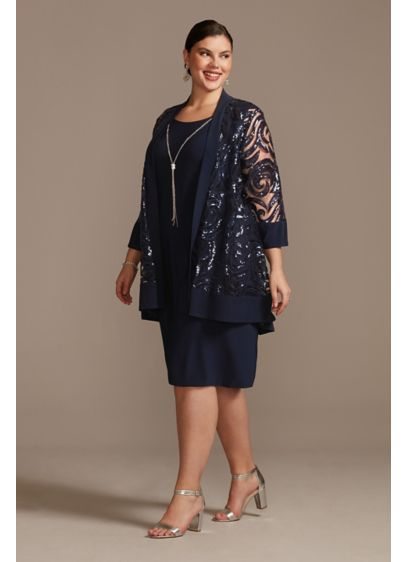 Illusion Sequin Jacket and Dress Plus Size Set - Featuring a knee-length plus size knit dress paired