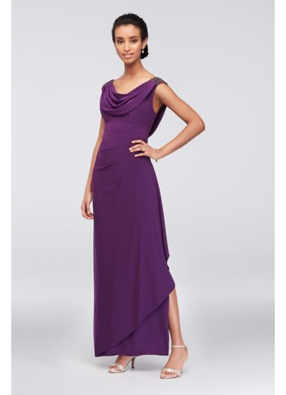 Matte Jersey Short Petite Dress with Cascade Skirt | David\'s Bridal