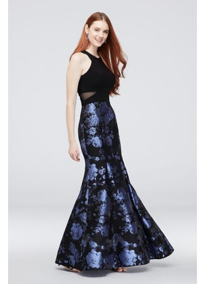 Brocade Mermaid Gown with Mesh Panels - Wow the crowd in this sleek mermaid silhouette,