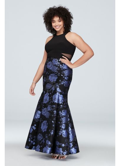 Brocade Mermaid Plus Size Gown with Mesh Panels - Wow the crowd in this sleek mermaid silhouette,