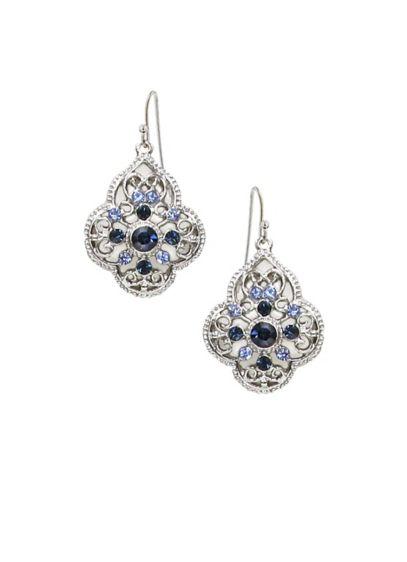 Blue Crystal Filigree Drop Earrings - Wedding Accessories