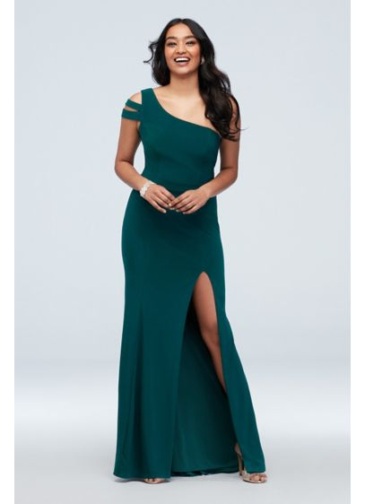 Banded Asymmetric Sleeve Stretch Jersey Gown - Make a statement in this new take on