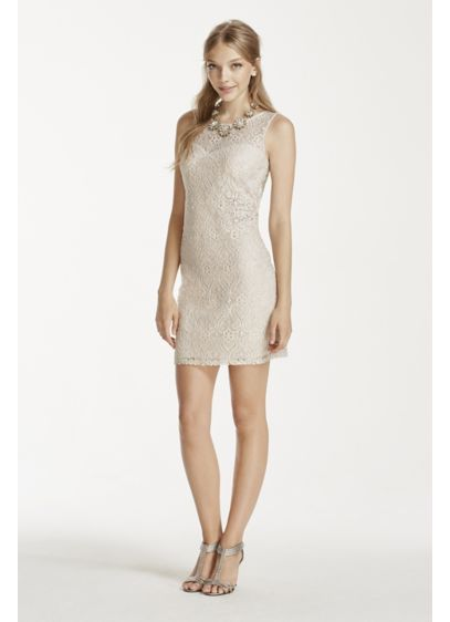 My Michelle Beige (Short Lace Dress with Illusion Neckline)