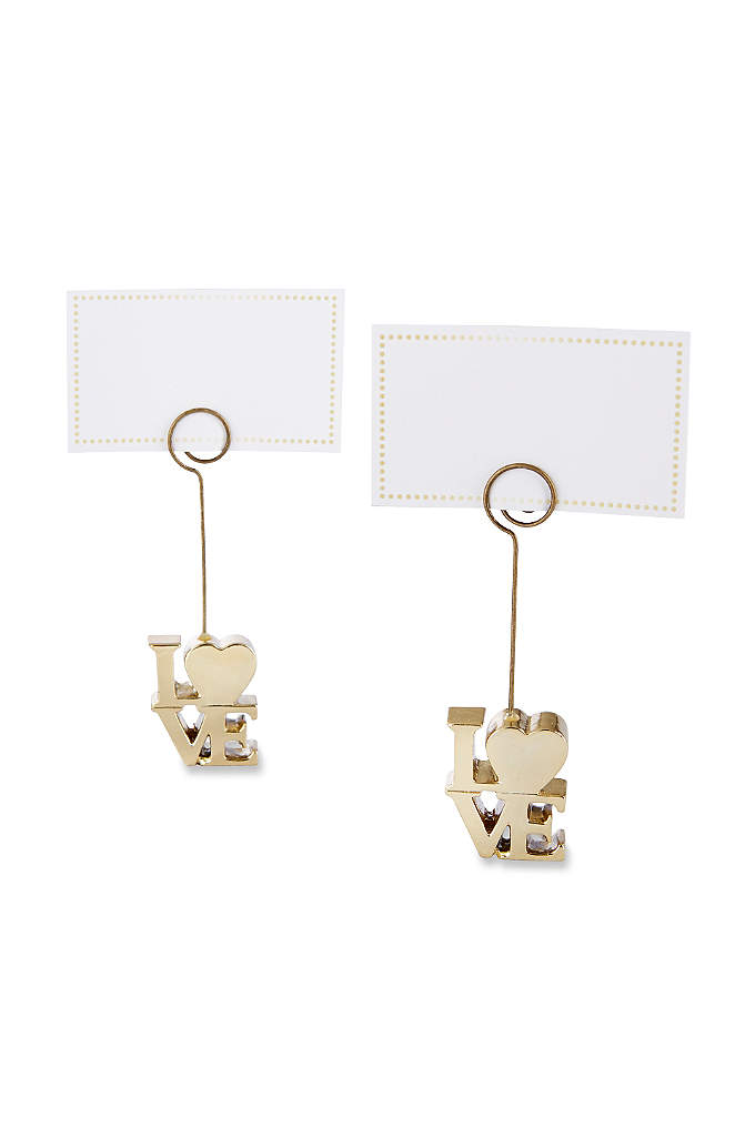 LOVE Gold Place Card Holders Set of 6 - Our LOVE Gold Place Card Holders display guest