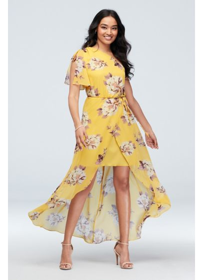 One Shoulder Floral Dress With Chiffon Wrap Skirt - Channel some major boho vibes in this stunning,