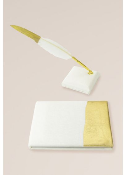 Gold Foil Dipped Guest Book and Feather Pen - Create a chic sign-in station at your wedding