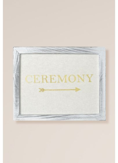 Gold Foil on Linen Ceremony Sign Decoration - The picture of rustic refinement, this wood framed,