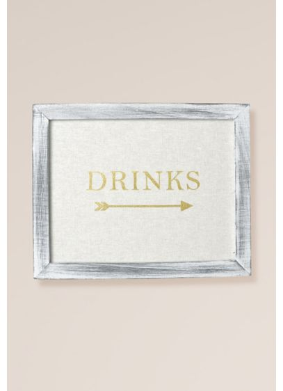 Gold Foil on Linen Drinks Sign Decoration - Wedding Gifts & Decorations