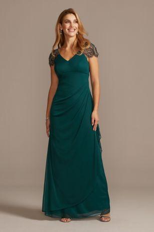 Long Sheath Cap Sleeves Dress - Xscape