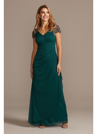 Embellished Chiffon Cap Sleeve Ruched Gown - This elegant gown flatters any figure thanks to