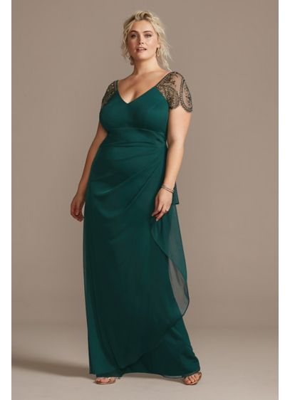Embellished Cap Sleeve Ruched Plus Size Gown - This elegant plus-size gown flatters any figure thanks
