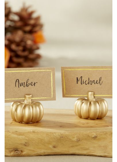 Golden Pumpkin Place Card Holders - The perfect fall wedding decor, these petite gold