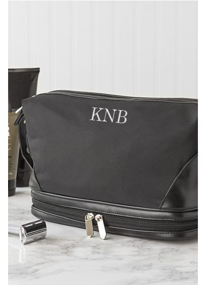 Personalized Microfiber Toiletry Bag - Monogrammed for a personal touch, the Black Microfiber