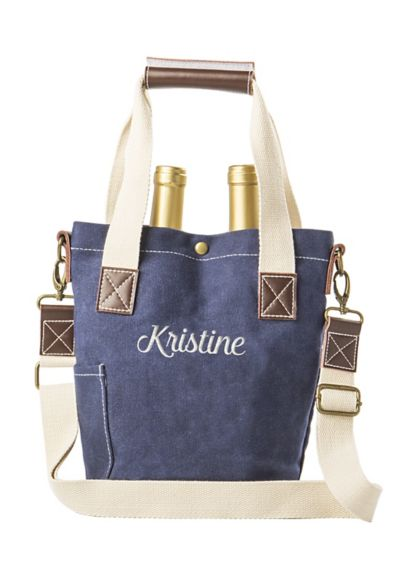 Personalized Waxed Canvas Wine Tote - Wedding Gifts & Decorations