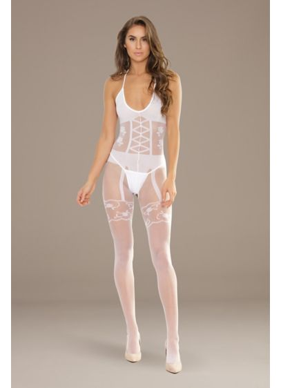 Coquette Opaque and Sheer Crotchless Bodystocking - Wedding Accessories