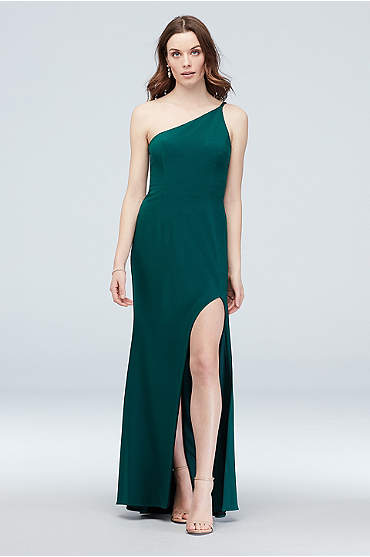 Asymmetric Shoulder Gown with Skinny Double Straps