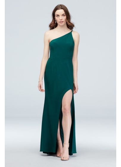Asymmetric Shoulder Gown with Skinny Double Straps - This stunning sheath is all about the angles!