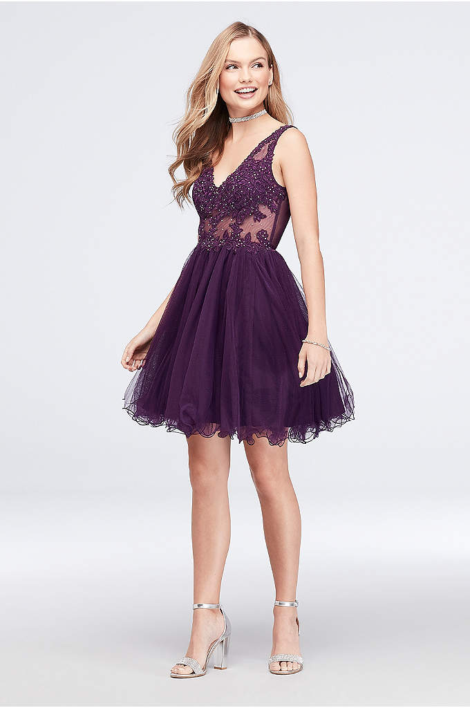 Embroidered Sheer Fit-and-Flare Dress with V-Back - With a sheer, embroidered and beaded bodice and