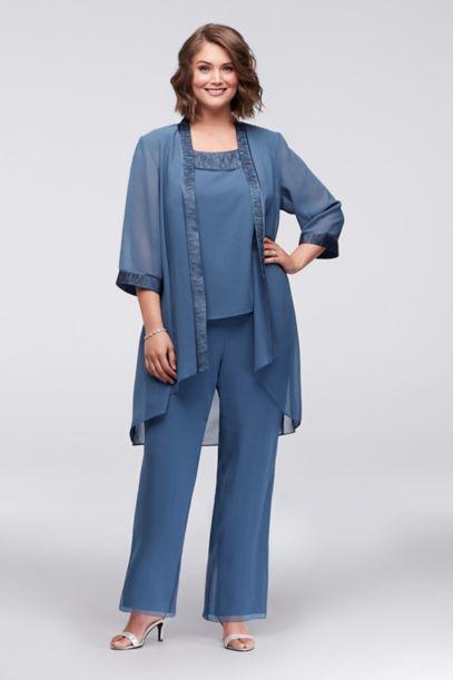 Plus Size Chiffon Pantsuit With High Low Jacket David S Bridal
