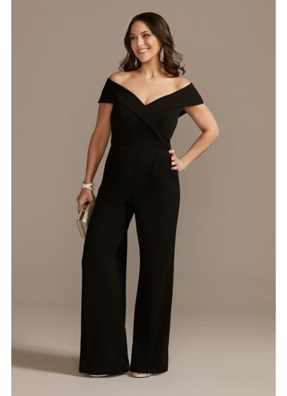 Off-The-Shoulder Crepe Sweetheart Jumpsuit - A phenomenally elegant off-the-shoulder neckline meets the ease