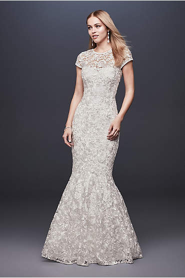 High-Neck Metallic Lace Mermaid Wedding Dress
