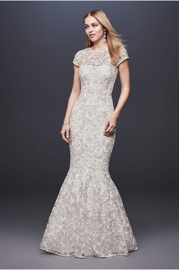 High-Neck Metallic Lace Mermaid Wedding Dress - With its cap sleeves, mermaid silhouette, and floral