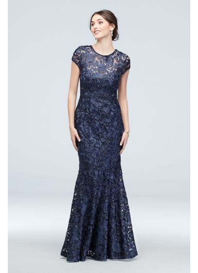 Metallic Lace Illusion Cap Sleeve Mermaid Gown - Exude confidence on the big day with an