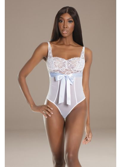 Coquette Ribbon-Tied Teddy - This stretch mesh teddy is detailed with a