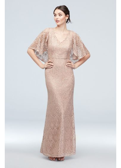 Cape-Sleeve Stretch-Knit Lace Mermaid Gown - Timeless and gorgeous, this glitter and sequin lace