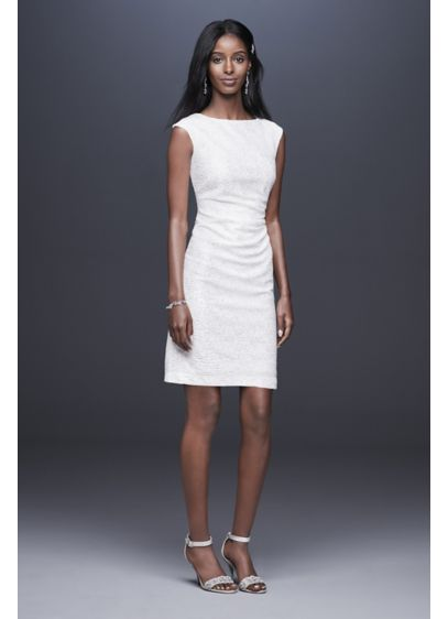 ec4300c650d67 Metallic Foil-Printed Knit Short Sheath Dress | David's Bridal