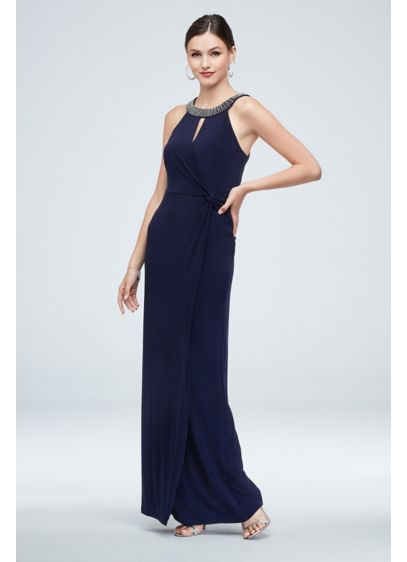 Embellished High Neck Gown with Knot Detail - No need for a statement necklace when you