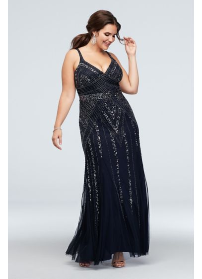 Geometric Bead and Sequin V-Neck Plus Size Gown - Featuring a geometric pattern of sequins and beads,