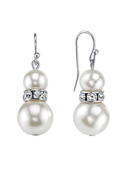 Double Pearl and Crystal Drop Earrings - Featuring two pearls separated by a slim silver