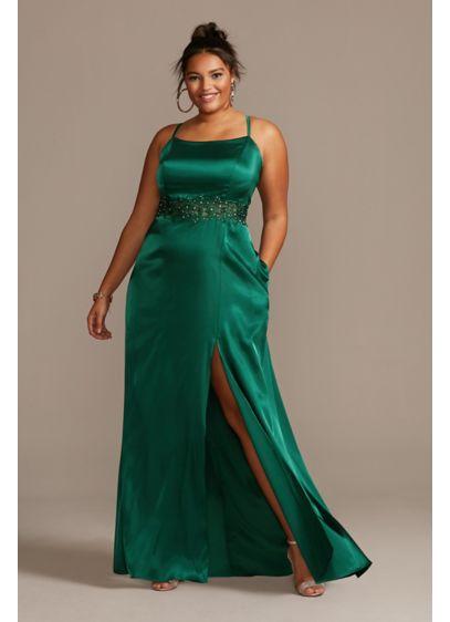Crystal Illusion Waist Spaghetti Plus Size Gown - This luxe satin plus-size sheath dress is enhanced