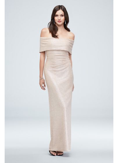 Crinkle Metallic Off-the-Shoulder Ruched Gown - Sleek and slimming, you'll look radiant in this