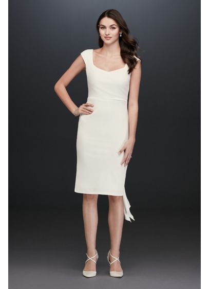 Cap Sleeve Short Jersey Dress with Back Tie - Cap sleeves and a sweetheart neckline give this