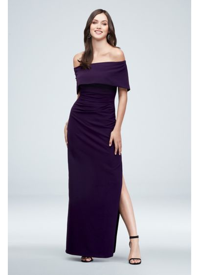 Off-the-Shoulder Foldover Ruched Gown with Slit - Sleek and slimming, you'll look radiant in this