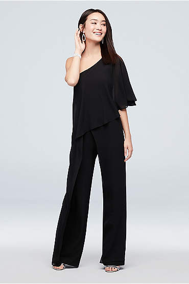 One-Shoulder Crepe Jumpsuit with Chiffon Overlay