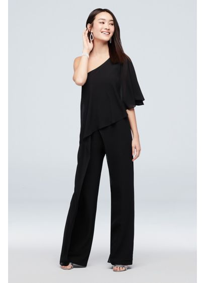One-Shoulder Crepe Jumpsuit with Chiffon Overlay - Topped with a flounced chiffon overlay, this one-shoulder