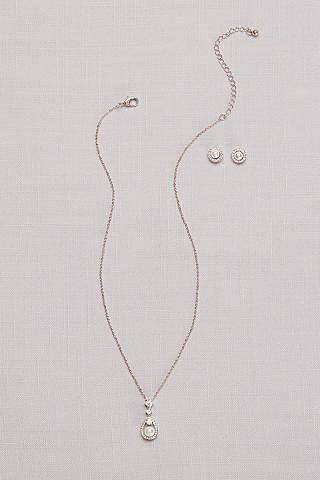 Set de Aretes y Collar de Perlas Con Incrustaciones