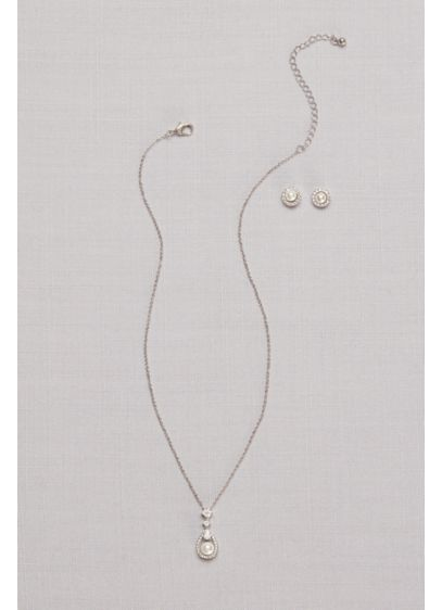 Cubic Zirconia Pave Pearl Necklace and Earring Set - A cubic zirconia halo-edged pearl dangles from a