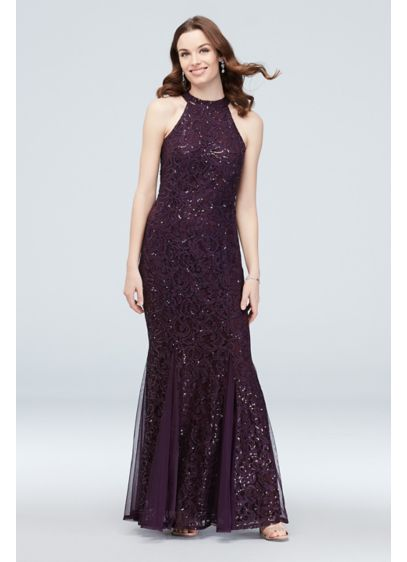 High-Neck Tie Sequin Lace Mermaid Gown with Godets - This head-turning sequin lace mermaid gown is all
