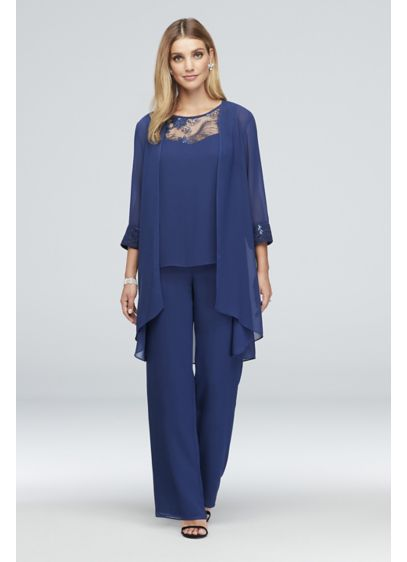 Lace-Detailed Georgette Three-Piece Pantsuit - Three-piece ensembles are the stylish-yet-comfortable choice that every