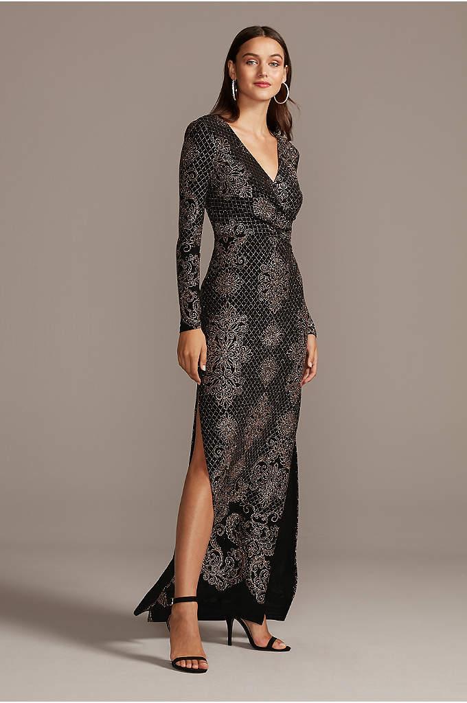 Glitter Print Bodycon Long Sleeve Dress