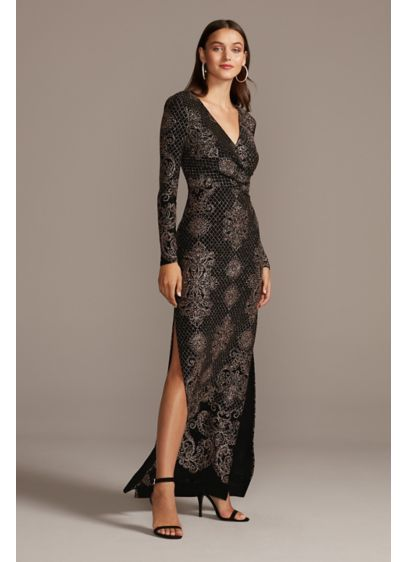 Glitter Print Bodycon Long Sleeve Dress - An opulent glitter brocade pattern, framed with a